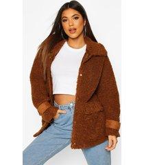 pluizige faux fur trucker jas met zak detail, kameel