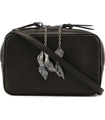 discord yohji yamamoto faux-leather leaf-charm shoulder bag - black