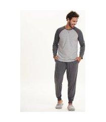 pijama cor com amor masculino manga longa cinza