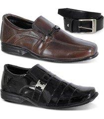 kit dois pares de sapato social e um cinto infantil leoppé - masculino