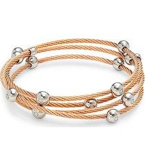 14k white gold, rosegold-tone stainless steel & diamond multi-strand bangle bracelet