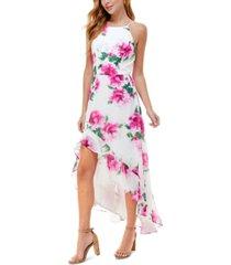 crystal doll juniors' floral-print halter maxi dress