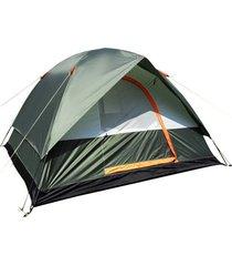 ey camping senderismo poliéster impermeable de tela oxford doble capas carpa 4 personas-green