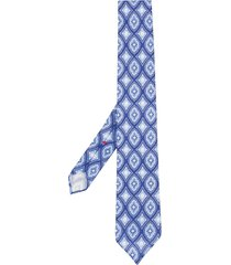 dell'oglio geometric print pointed tie - blue