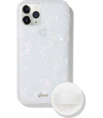 sonix pearl tort iphone 11 pro case & slide silicone phone ring - white