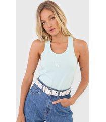 regata calvin klein jeans logo verde - verde - feminino - algodã£o - dafiti