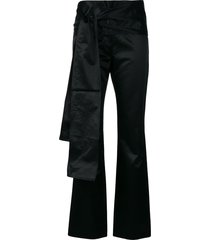 romeo gigli pre-owned bow detail slim trousers - black