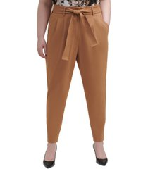 calvin klein plus size belted ankle-length pants
