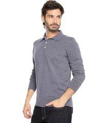 sweater azul 104 preppy m/l tejido delgado cuello polo