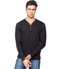 blusa tony menswear gola v com elastano preta