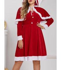 plus size velvet christmas dress with hooded cape set