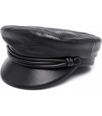ruslan baginskiy black leather baker boy cap