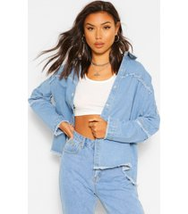 oversized shirt met denim zoom detail, light blue