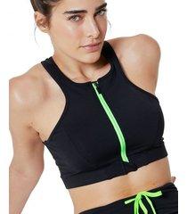 amaro feminino top esportivo ziiper, preto