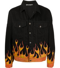 palm angels flames denim jacket - black