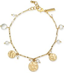 inc gold-tone shaky disc & imitation pearl ankle bracelet, created for macy's