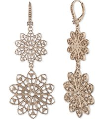 marchesa gold-tone filigree double drop earrings