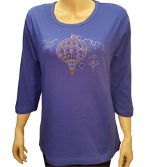 women's hot air balloon bling t shirt rhinestone embellished blue knit.