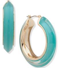 "dkny gold-tone medium colored inlay hoop earrings, 1.7"""