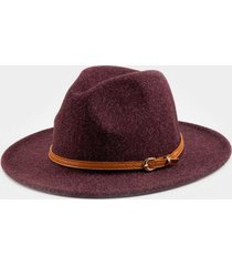 claudia heathered wool panama hat in burgundy - burgundy