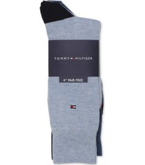 tommy hilfiger men's 4-pack bonus heel-toe dress socks