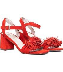 sandalia de gamuza roja vercal