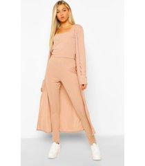 tall driedelige geribbeld hemdje, leggings & cardigan set, stone