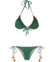adriana degreas x cult gaia triangle bikini top - green