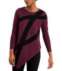 alfani petite asymmetrical printed sweater