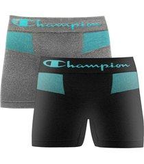 kit 2 cueca boxer champion preto/mescla
