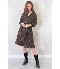 jurk cheetah zwart camel