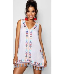 cheese cloth embroidered tassel sun dress, white