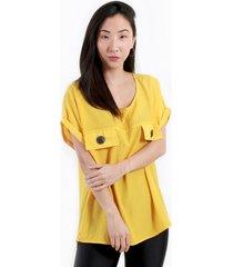 blusa manga caída amarilla night concept