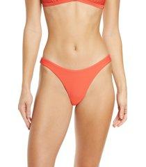 women's seafolly high cut bikini bottoms, size 10 us - coral