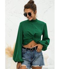 blusa con mangas abullonadas y cuello simulado twist design
