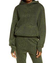 women's ragdoll animal print oversize hoodie, size medium - green