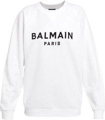 classic flocked logo sweatshirt white