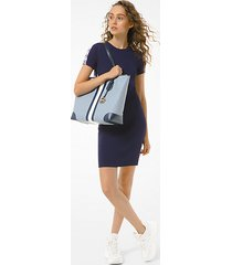 mk abito in viscosa stretch a coste con fettuccia con logo - navy brillante (blu) - michael kors