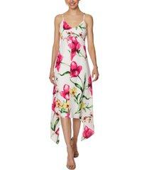 laundry by shelli segal floral-print handkerchief-hem midi dress