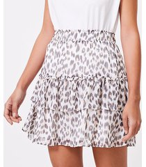 loft leopard print tiered ruffle skirt
