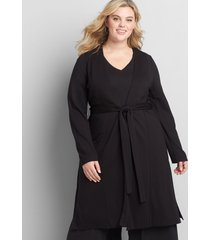 lane bryant women's knit kit belted overpiece 14/16p black