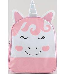 mochila infantil unicórnio com orelhas e chifre rosa