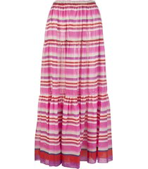 red and pink striped longuette skirt