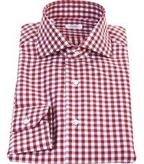 barba napoli barba red and white small checked cotton shirt