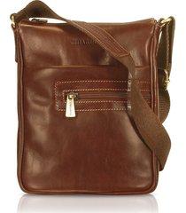 chiarugi designer men's bags, handmade brown genuine leather vertical cross-body bag