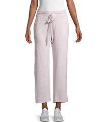 pure navy women's londyn waffle-knit lounge pants - lilac - size m