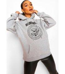 gelicenseerde ramones hoodie, grey marl