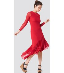 na-kd boho long sleeve mesh dress - red