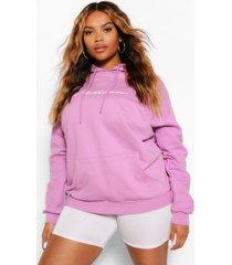 plus woman geborduurde hoodie met tekst, paars