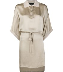 john richmond drawstring tunic dress - neutrals